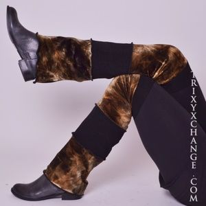 👻 Trixy Xchange Brown Tie Dye Velvet Leg Warmers